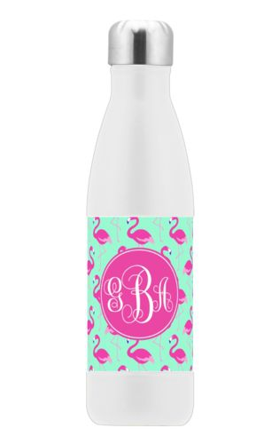 Custom stainless steel water bottle personalized with flamingos pattern and monogram in bright pink