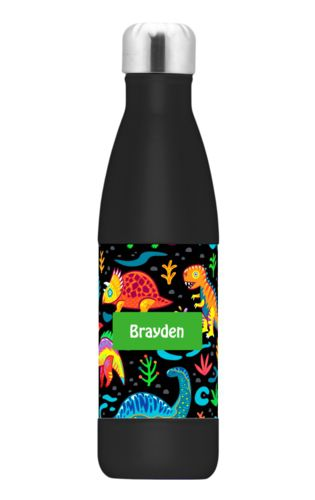 Personalized stainless steel water bottle personalized with dinos pattern and name in green