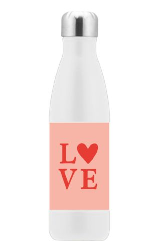 "Custom insulated water bottle personalized with the saying ""love"" in red punch and papaya"