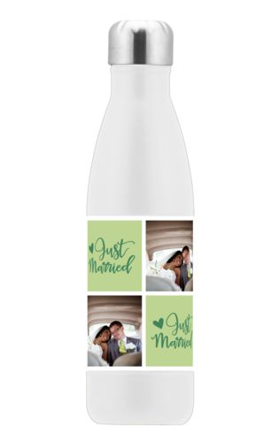 "Personalized stainless steel water bottle personalized with a photo and the saying ""just married"" in pine green and leaf green"