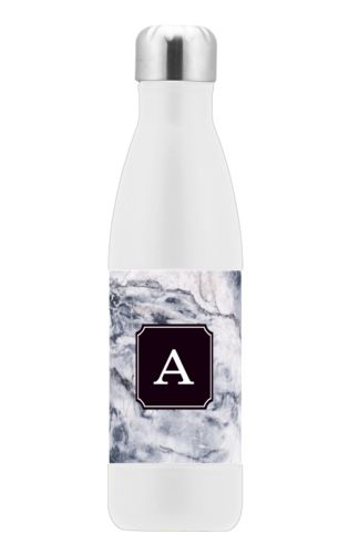 Stainless steel vacuum insulated water bottle personalized with white pattern and initial in black licorice
