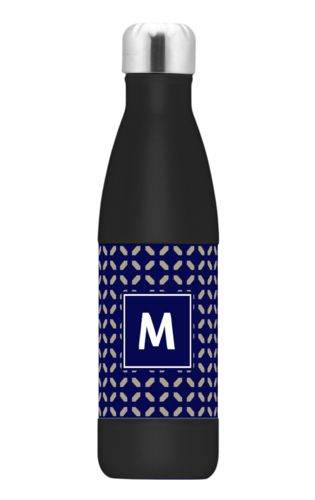 Insulated water bottle personalized with clover pattern and initial in true navy and bark