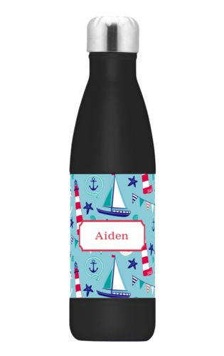 Personalized stainless steel water bottle personalized with landmarks pattern and name in cherry red