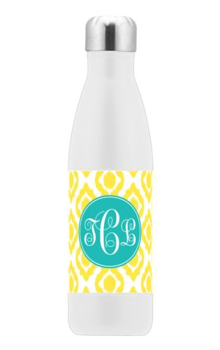Insulated water bottle personalized with batik pattern and monogram in robin's egg blue and yellow sunshine
