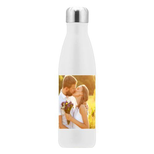 Custom steel water bottle personalized with a photo