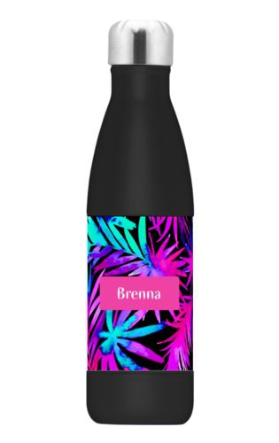 Double insulated water bottle personalized with fern pattern and name in juicy pink