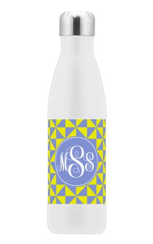 Custom steel water bottle personalized with web pattern and monogram in periwinkle and neon yellow