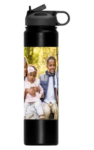 Custom insulated water bottles personalized with a photo