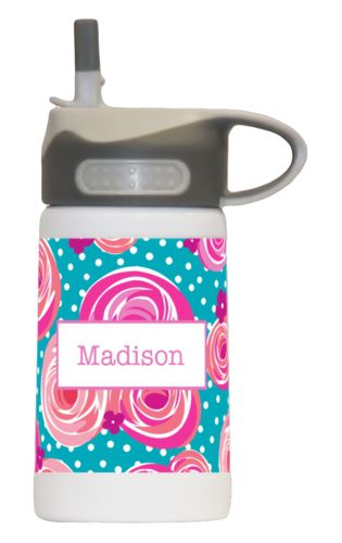 Kids water bottle personalized with blossoms pattern and name in dusty pink