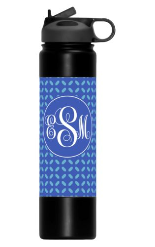 Custom water bottles personalized with clover pattern and monogram in cornflower and periwinkle