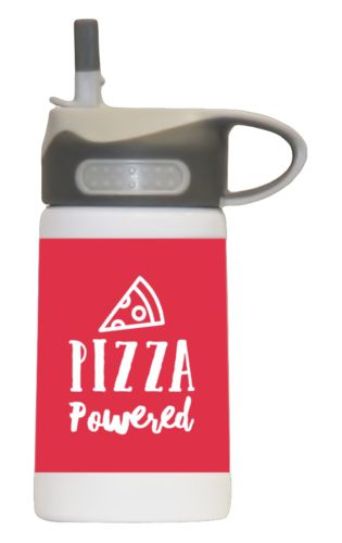 "Water bottle for kids personalized with the saying ""pizza powered"" in cherry red and white"