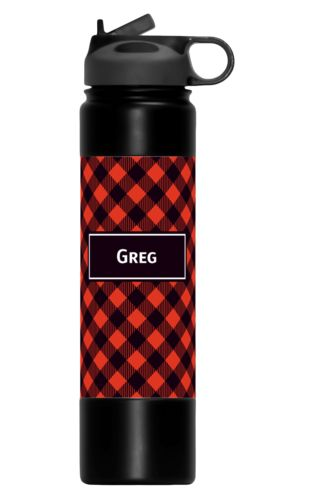 Custom printed water bottles personalized with check pattern and name in black and strong red