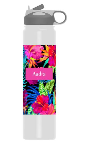 Personalized water bottles personalized with jungle pattern and name in juicy pink