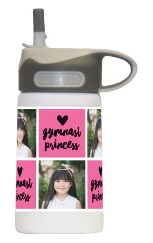 "12 oz kids wide mouth personalized with a photo and the saying ""gymnast princess"" in black and pretty pink"