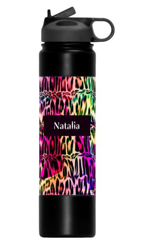 Insulated water bottle personalized with cheetah pattern and name in black licorice