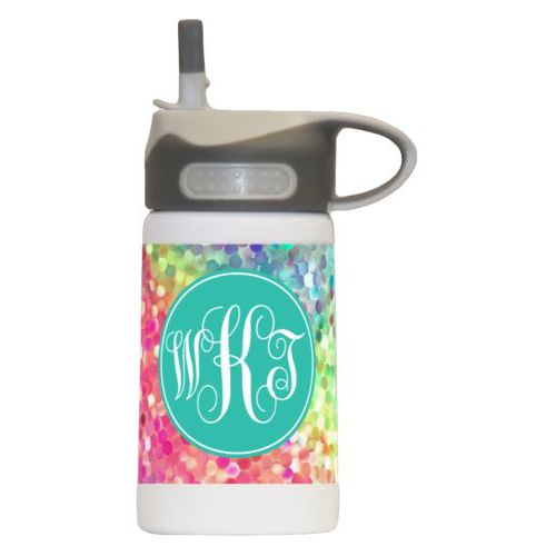 Childrens water bottle personalized with glitter pattern and monogram in minty