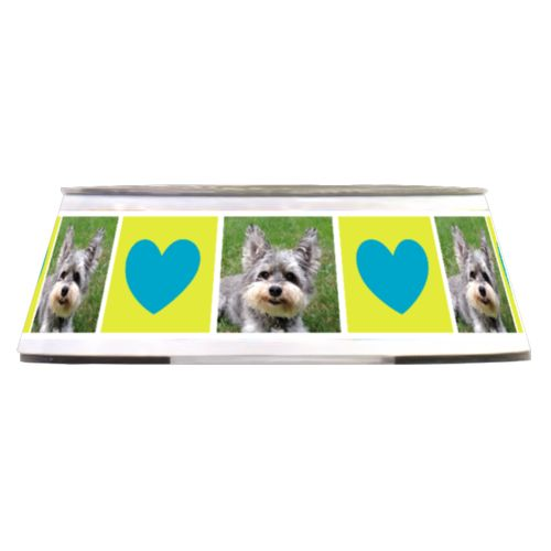 "Personalized pet bowl personalized with a photo and the saying ""heart"" in teal and lime"
