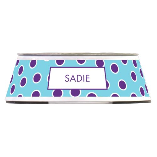 Personalized pet bowl personalized with bright dot pattern and name in amethyst purple and sweet teal