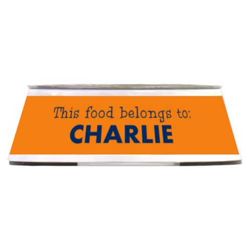 "Personalized pet bowl personalized with the saying ""This food belongs to: CHARLIE"" in navy blue and juicy orange"