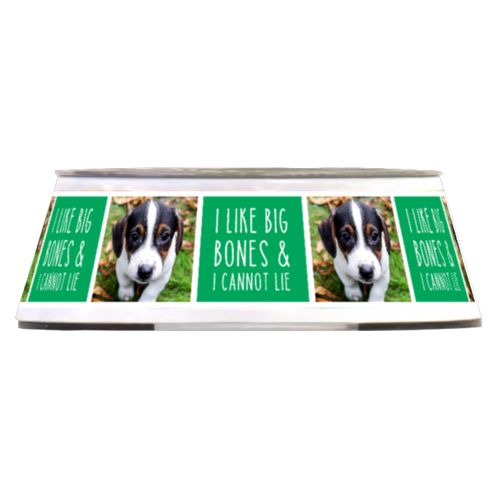 "Personalized pet bowl personalized with a photo and the saying ""I like big bones & I cannot lie"" in st. paddy's green and white"