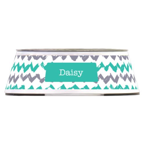 Personalized pet bowl personalized with stripes pattern and name in minty and coolest gray