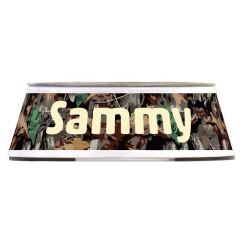 "Personalized pet bowl personalized with hunting camo pattern and the saying ""Sammy"""