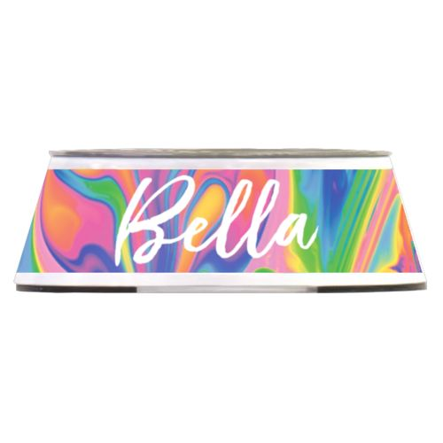 "Personalized pet bowl personalized with marbling pattern and the saying ""Bella"""