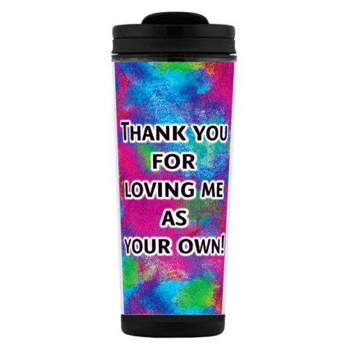 "Custom tall coffee mug personalized with night pattern and the saying ""Thank you for loving me as your own!"""