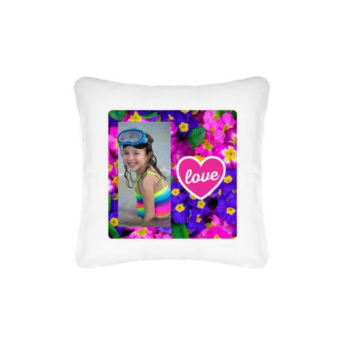 "Personalized pillow personalized with photo and the saying ""love"""