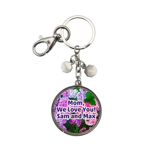 "Personalized metal keychain personalized with hydrangea pattern and the saying ""Mom, We Love You! Sam and Max"""