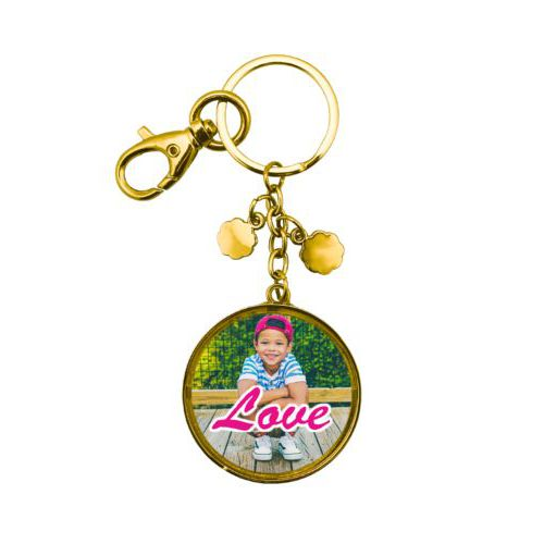 "Personalized metal keychain personalized with photo and the saying ""Love"""