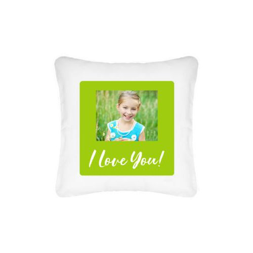 "Personalized pillow personalized with photo and the saying ""I Love You!"""