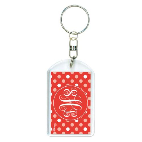 Personalized plastic keychain personalized with large dots pattern and monogram in red punch and papaya