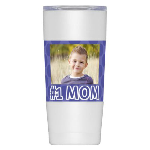 "Personalized insulated steel mug personalized with photo and the saying ""#1 MOM"""