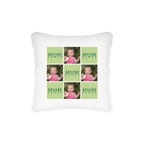 "Personalized pillow personalized with a photo and the saying ""MOM (Heart as ""O"")"" in pine green and leaf green"