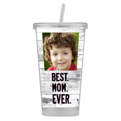 "Personalized tumbler personalized with photo and the saying ""Best Mom Ever"""