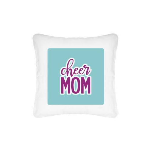 "Personalized pillow personalized with concaved pattern and the saying ""Cheer Mom"""