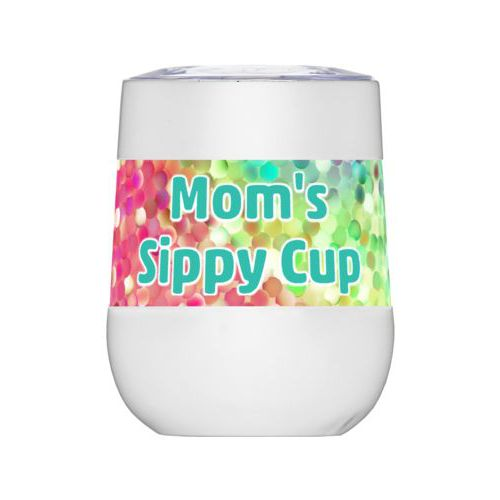 "Personalized insulated wine tumbler personalized with glitter pattern and the saying ""Mom's Sippy Cup"""