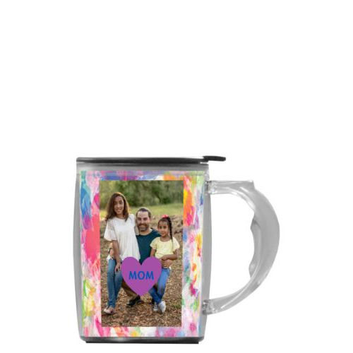 "Custom mug with handle personalized with photo and the saying ""heart"" and the saying ""MOM"""