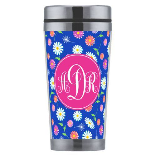 Personalized coffee mug personalized with daisy pattern and monogram in bright pink party goods