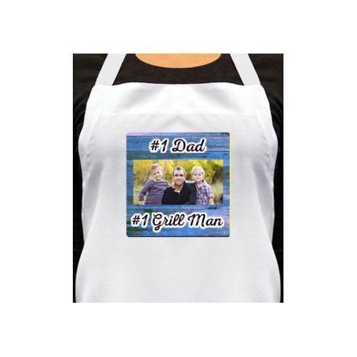 "Personalized apron personalized with photo and the saying ""#1 Grill Man"" and the saying ""#1 Dad"""