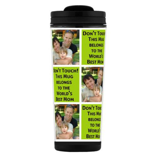 "Custom tall coffee mug personalized with a photo and the saying ""Don't Touch! This Mug belongs to the World's Best Mom"" in black and juicy green"