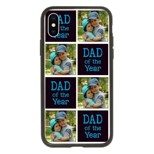 "Personalized iphone case personalized with a photo and the saying ""Dad of the Year"" in caribbean blue and black"