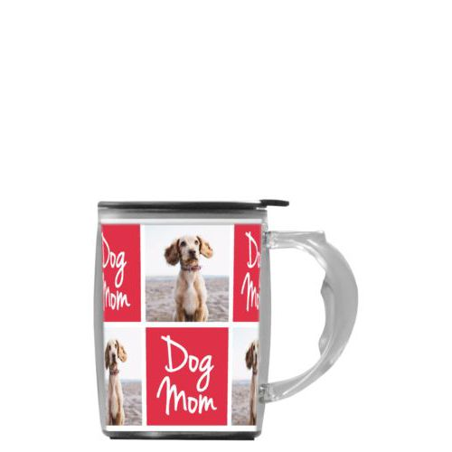 "Custom mug with handle personalized with a photo and the saying ""dog mom"" in cherry red and white"