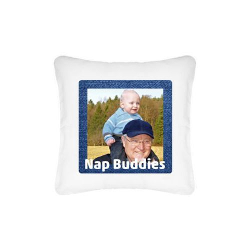 "Personalized pillow personalized with photo and the saying ""Nap Buddies"""