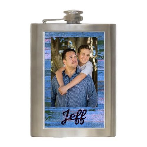 "Personalized 8oz flask personalized with photo and the saying ""Jeff"""