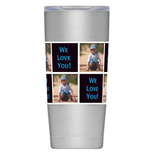 "Personalized insulated steel mug personalized with a photo and the saying ""We Love You!"" in caribbean blue and black"