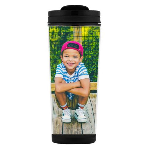 Custom tall coffee mug personalized with photo