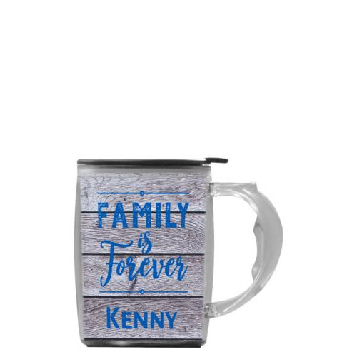 "Custom mug with handle personalized with grey wood pattern and the saying ""Family Is Forever"" and the saying ""Kenny"""