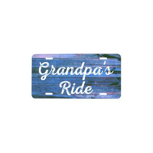 "Custom car plate personalized with sky rustic pattern and the saying ""Grandpa's Ride"""